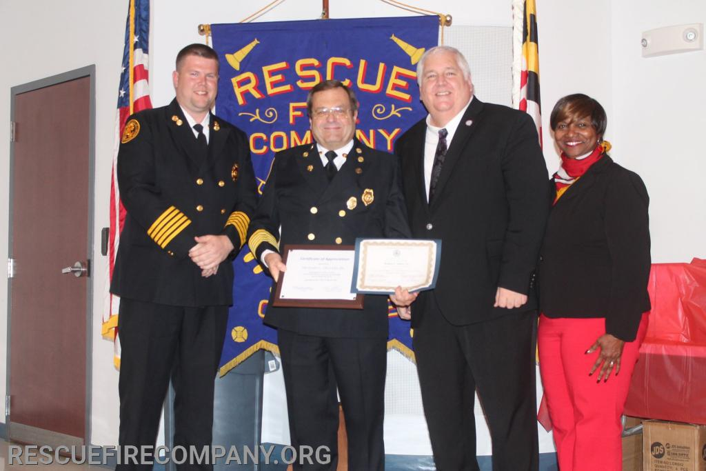 (Dorchester 40 Years of Service Commendation) Chie Adam Pritchett, Past Chief Ricky Travers, Councilman +
