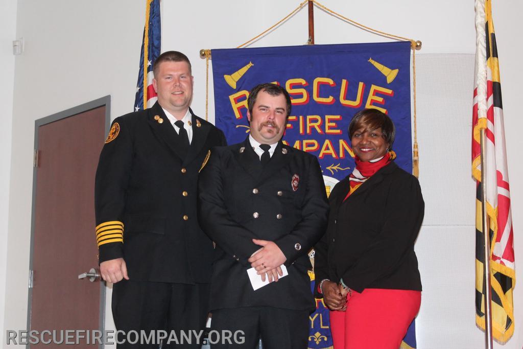 (15 years of Service) Chief Adam Pritchett, Captain Chris Foxwell, and Mayor Victoria Jackson-Stanley