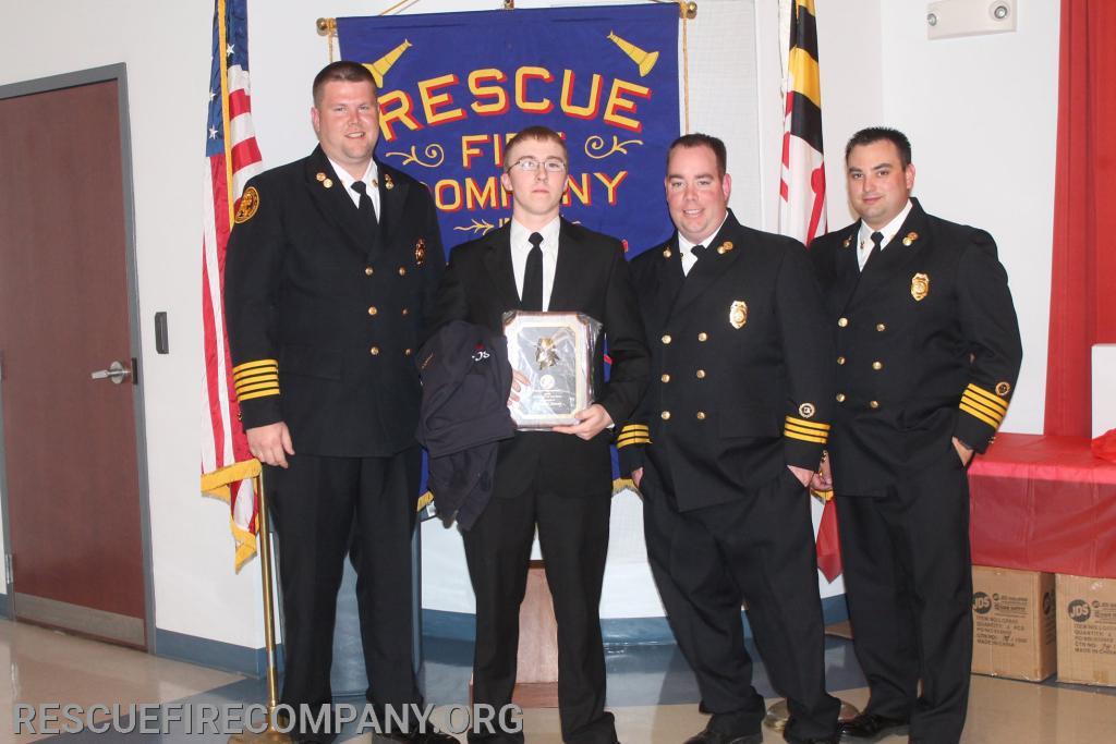 """(2019 Jr Cadet of The Year) Chief Adam Pritchett, Brandon """"Blister"""" Stacey, Asst. Chief Ben McCarter, Asst. Chief Brad Walters"""