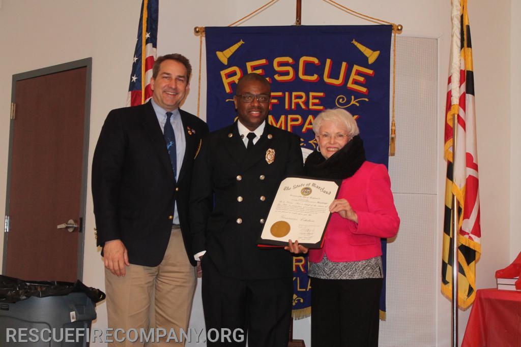(State 20 Years of Service Citation) Rep Johnny Mulch, FF Kevin Car, Sen Addie C. Eckardt