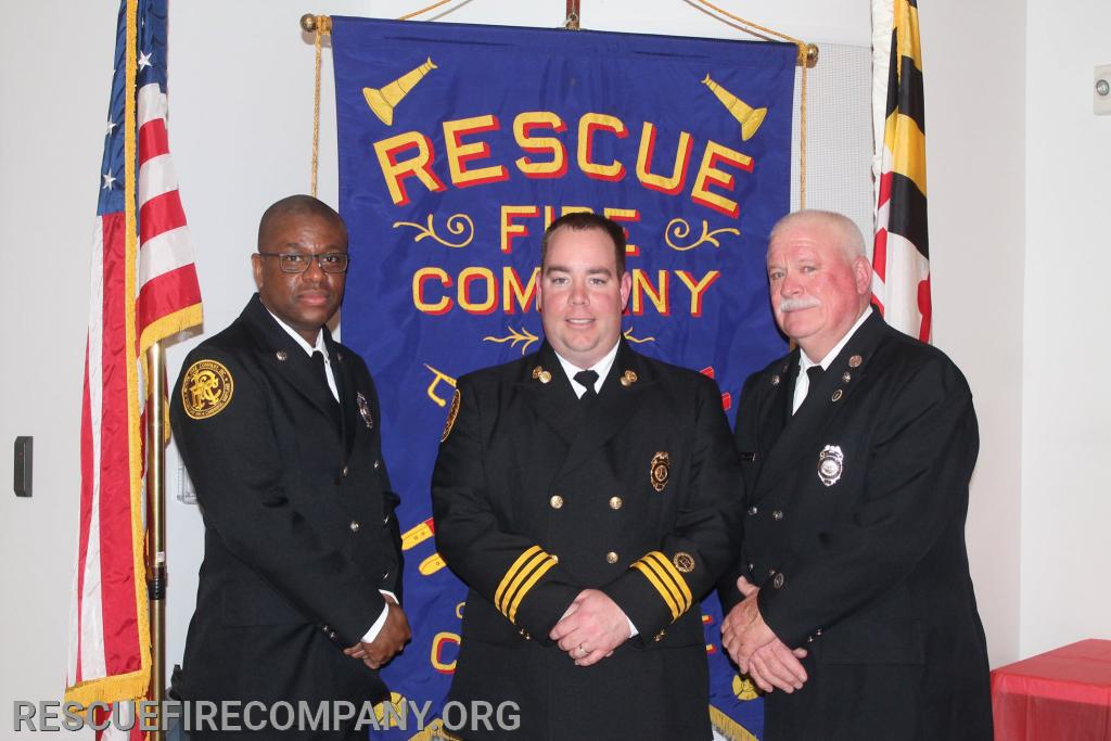 2nd Asst. Chief Ben McCarter with The 2019 Officer & Firefighter of the Year.
