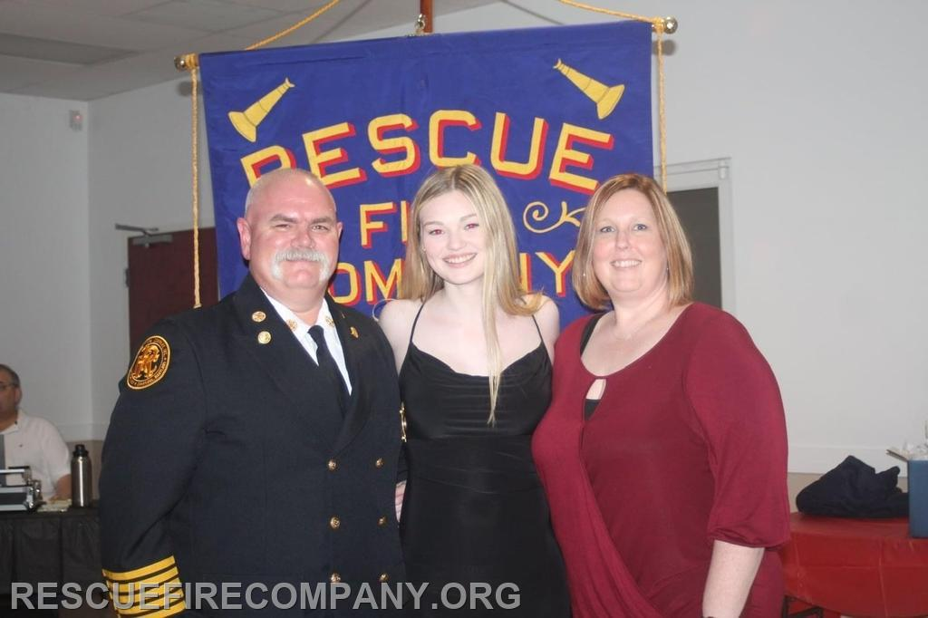 Past Chief Brian Willey, w/ (daughter) Kaci, and (wife) Amanda