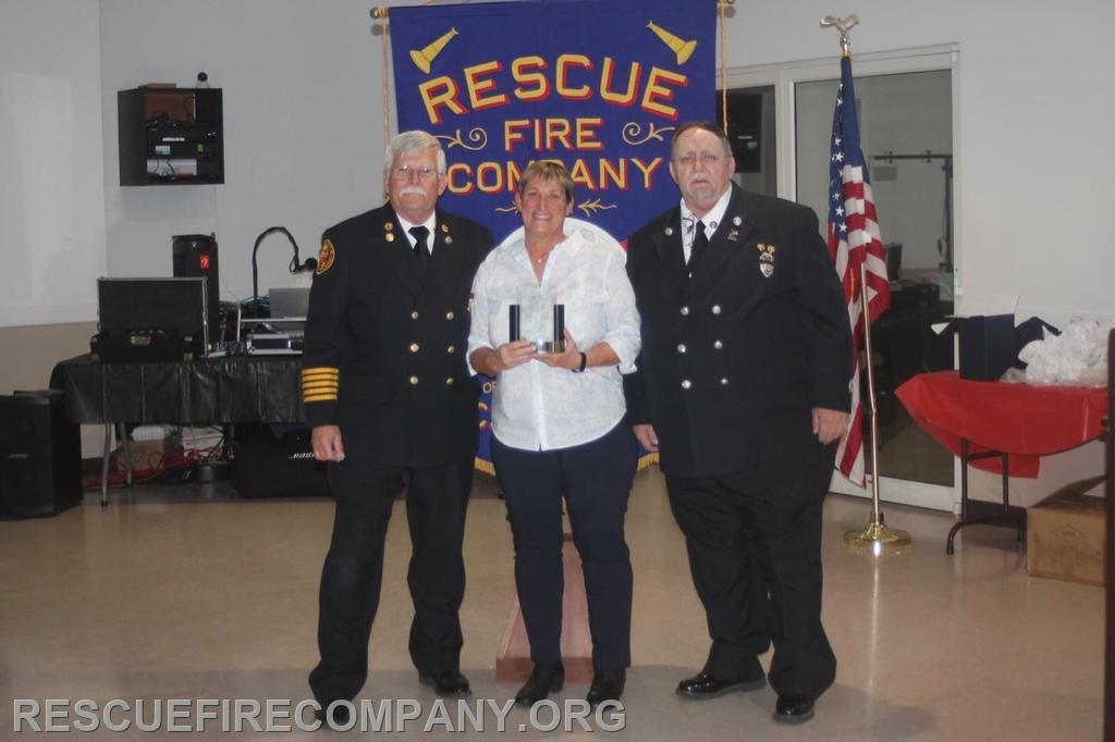 Juanita Darby received The J Whitey Barth Award (presenting RFC President Robert Phillips & RFC Vice President Frank Horsman)