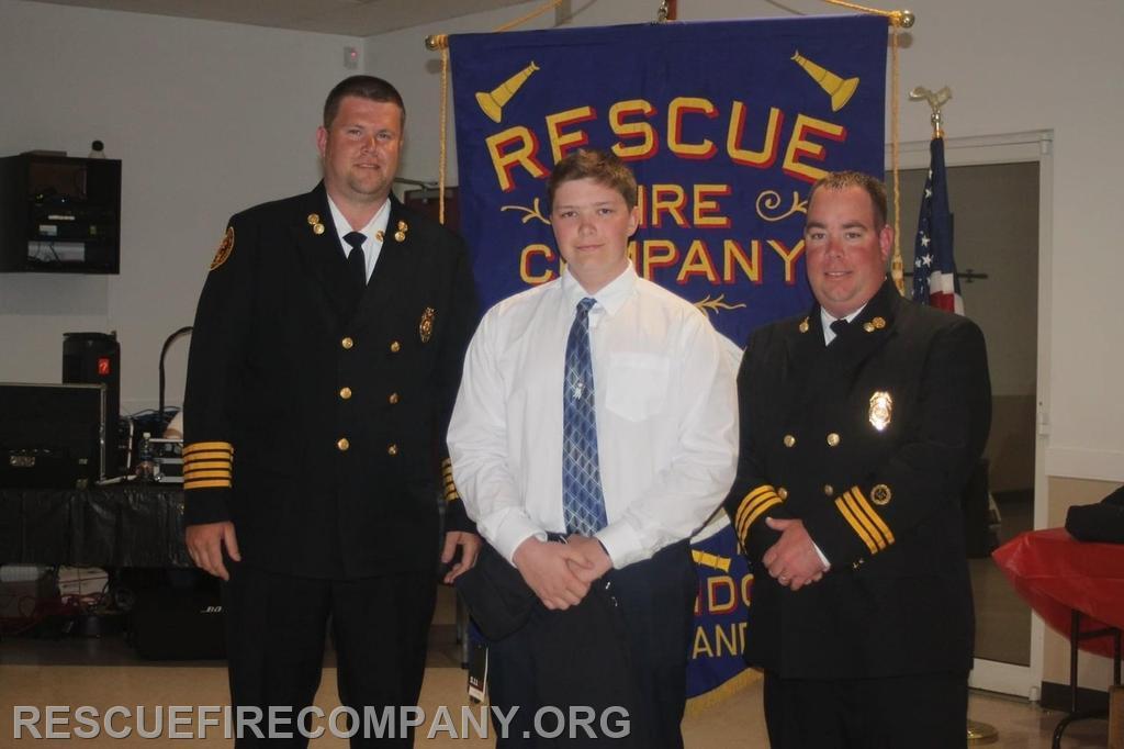 The 2021 Cadet of the Year went to Alex Shorter (presenting Chief Adam Pritchett, & 2nd Asst. Chief Ben McCarter)