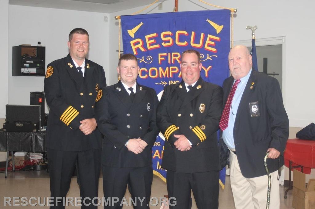 The 2021 Firefighter of the Year Award went to Captain Trey Davis (presenting Chief Adam Pritchett, 2nd Asst. Chief Ben McCarter, Past 1st Asst. Chief Calvin Stack)
